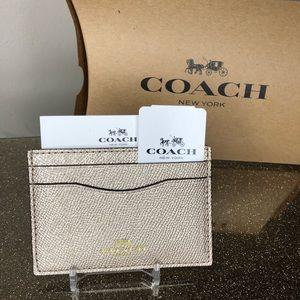Coach MTLC CG leather Cardholder case wallet